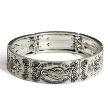 Vintage Elastic Womens bangle Antique silver Color Cross Virgin Mary R