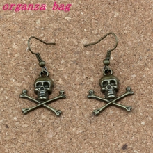 Pirate Skull Charm Earrings Fish Ear Hook 24pairs/lot Antique bronze Chandelier Jewelry 21x41mm A-335e