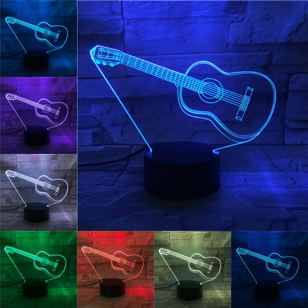 Fashion Guitar LED 3D Lamp 2019 Remote Touch Control Light Children Birthday Present Home Bar Store Deco Musical Instruments