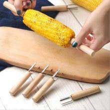 Вилки для барбекю, кукурузы, вилки для еды, иглы для жарки кукурузы, вилка для барбекю, говядины, колбасы, фруктов, деревянная ручка, вилка