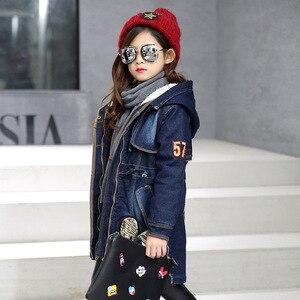 Image 2 - 2020 yeni kış çocuk kız Denim ceket çocuk artı kalın kadife ceket büyük bakire sıcak tutan kaban pamuk kapşonlu dış giyim kız