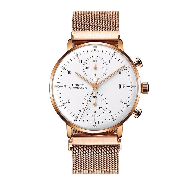 LOREO 6112 allemagne Bauhaus montres montre à quartz multifonction calendrier chronographe costume affaires et sport hommes montre