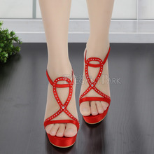 Red Sandals for WomenSummer EP2118-PF Open Toe T-Straps Satin Red Ultra High Heel Sexy Rhinestone Pumps Party Shoes