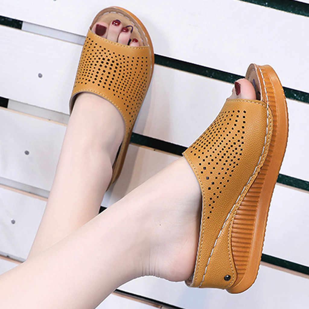 Ayakkabı kadın sandalet yüksek topuklu kadın sandalet düz rahat ayakkabılar yaz sandalet kadın 2019 yaz ayakkabı hakiki platformu terlik