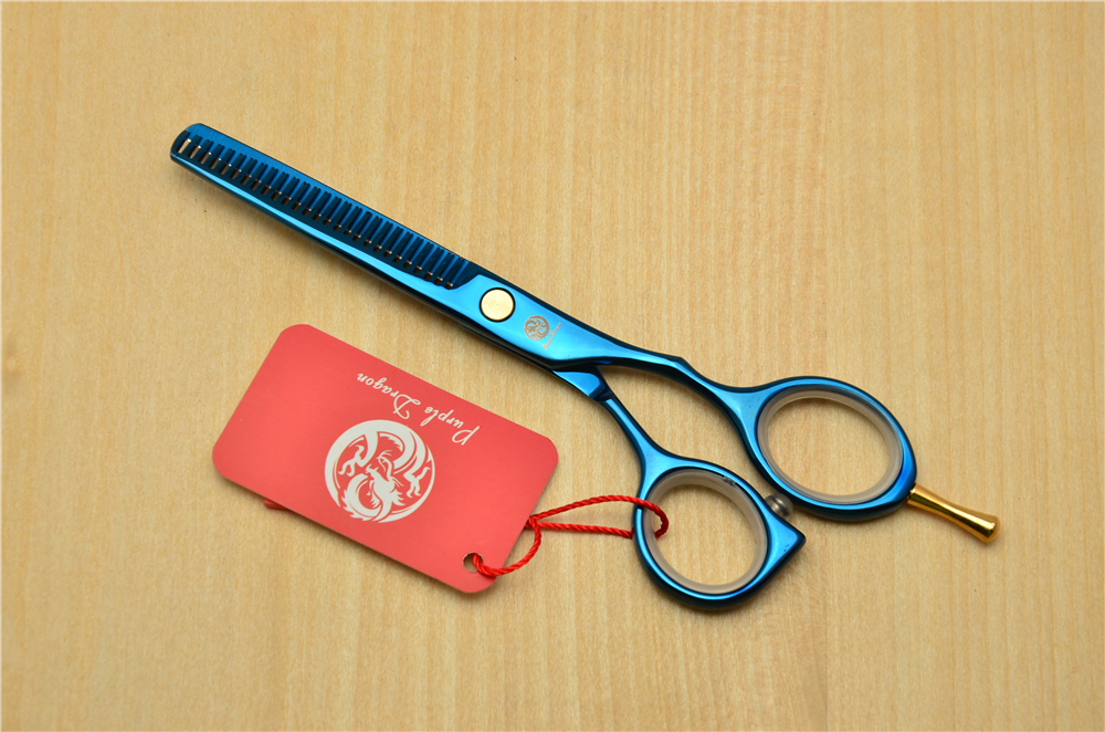 5.5 16cm Purple Dragon 440C Blue Colour Professional Human Hair Scissors Hairdressing Cutting Shears Thinning Scissors Z1014