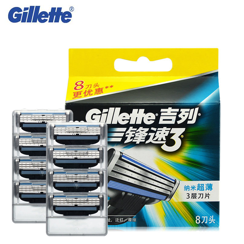 Gillette Mach <font><b>3</b></font> Razor Blades For Men Shaving Original Brand Shavor Blades To Shave With 8 Blades/pack