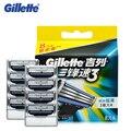 Gillette mach 3 lâminas de barbear para homens lâminas de barbear da marca original para shavor para barbear com 8 lâminas/pack
