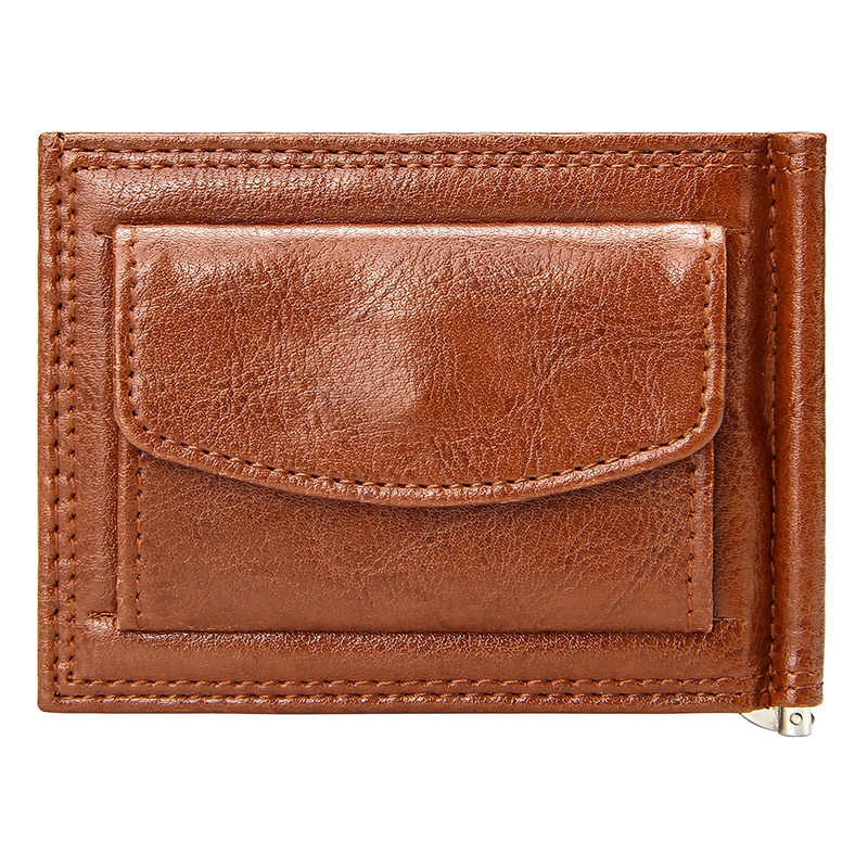 Vintage Slim Money Clip with Coin Pocket Business Men Short Wallet Bifold Pu Leather Casual Cards Case Wallets Simple Clips Cash