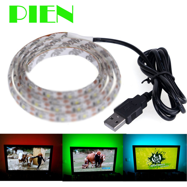Waterproof 100cm 1m led strip light ribbon with usb cable port 5v waterproof 100cm 1m led strip light ribbon with usb cable port 5v for for flat screen mozeypictures Image collections