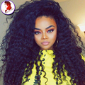 8A Grade Long Kinky Curly Wig 150% Density Full Lace Human Hair Wig For Black Women Natural Hairline Curly With Baby Hair