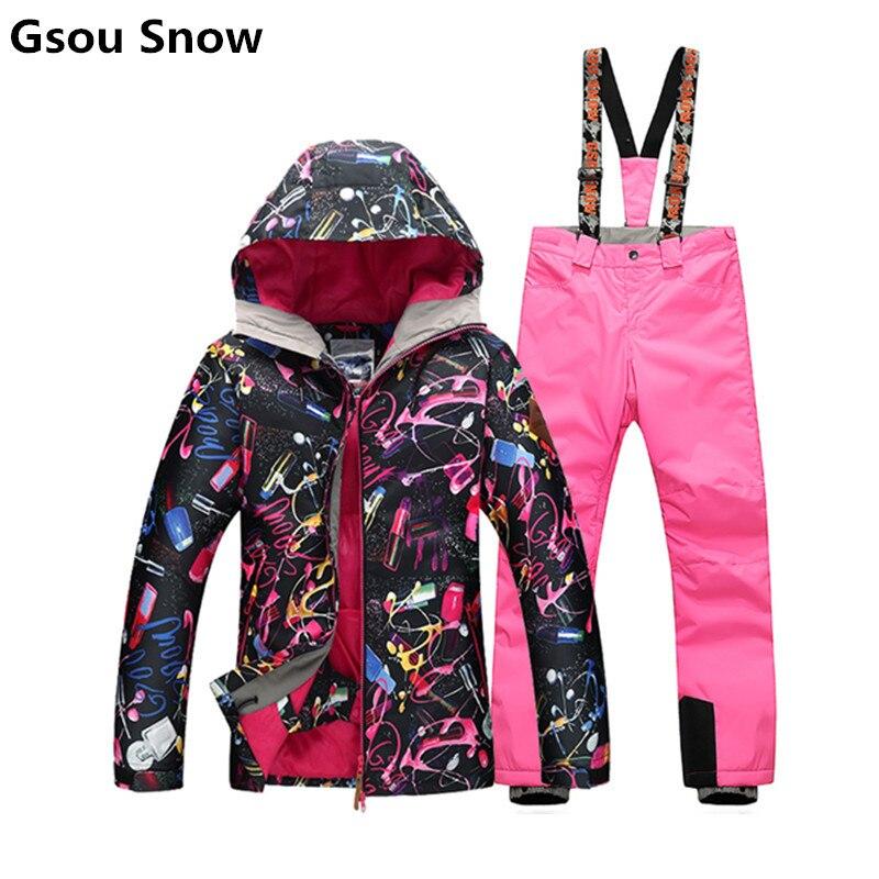 Prix pour GSOU SNOW vente ski vestes femmes hiver snowboard combinaison de ski féminin habits de neige veste montagne ski chaqueta nieve mujer