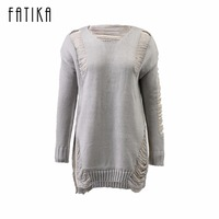 FATIKA Fashion Autumn Winter Dress Women O Neck Long Sleeve Solid Knitted Hollow Out Front Short