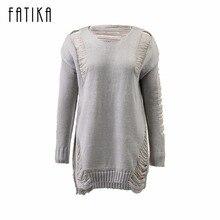 Fatika модные осень-зима платье Для женщин o Средства ухода за кожей шеи с длинным рукавом однотонные вязаные выдалбливают короткое спереди сзади длинной миди платье для дамы