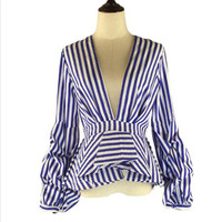Puff Sleeve Blue White Striped Shirts Blouse Ruffles Trim women sexy v neck summer fashion new tops clothing blusas plus size