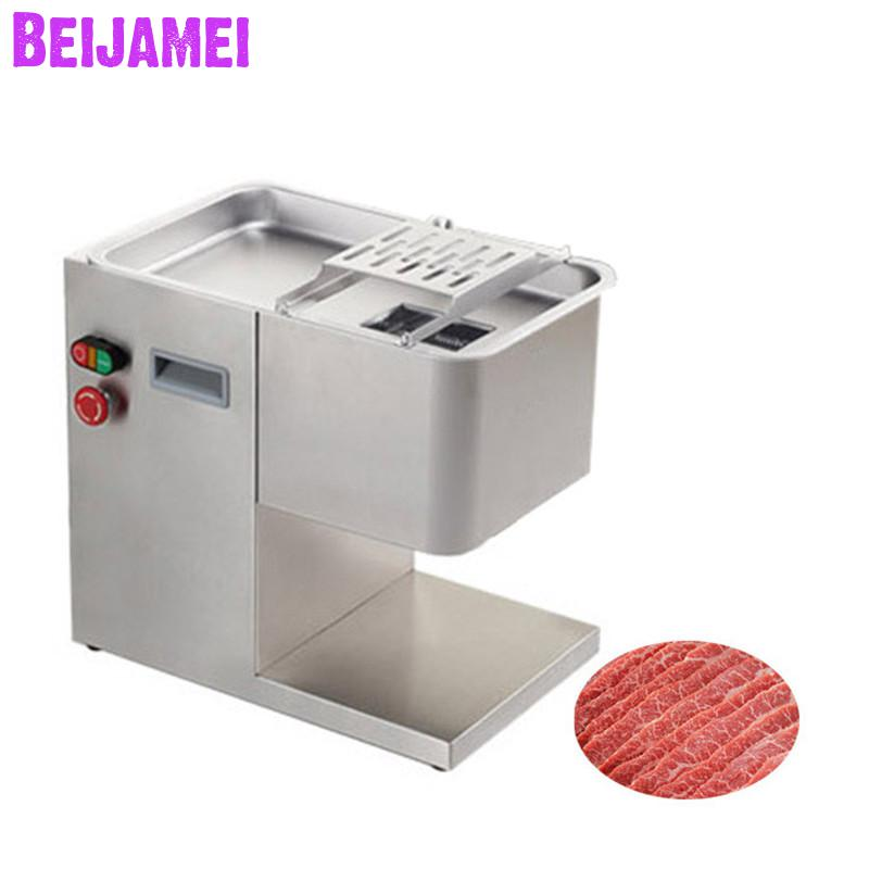 BEIJAMEI 300KG Electric Industrial Fresh Meat Cutter Machine 2mm-5mm Commercial Meat Slicer Machine Price