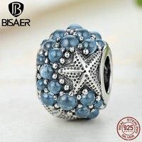 BISAER 100 925 Sterling Silver Blue Oceanic Starfish Frosty Mint CZ Beads Fit Pandora Bracelets Necklaces