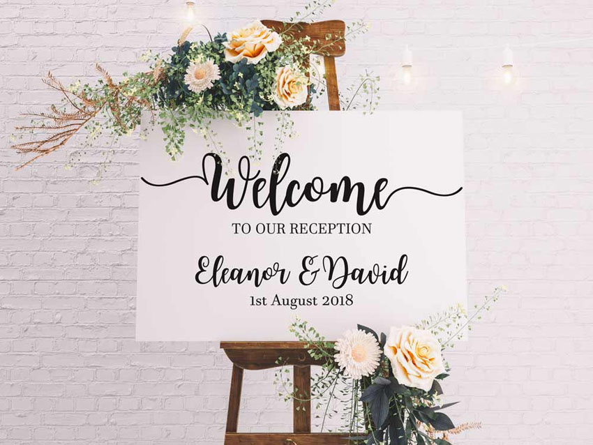 Wedding Sign Design Custom Name Poster Welcome Wedding Reception Window Door Stickers Beauty Wedding Decoration LY1490 in Wall Stickers from Home Garden