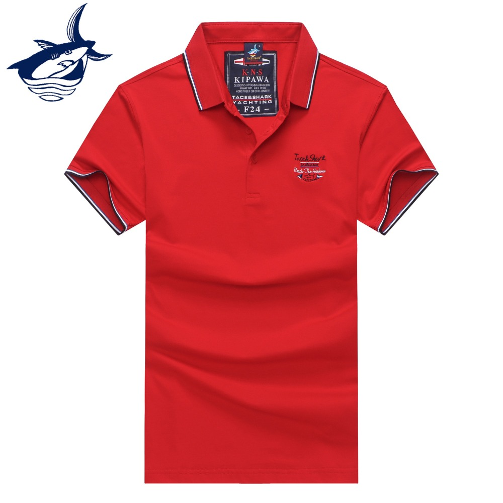 Summer 2019 New Arrival solid men's   polo   shirt 3D Embroidery Royal Brand Tace & Shark man   polo   shirts Slim Fit Casual   polo   shirt