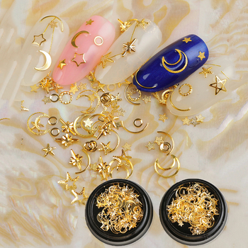 1 BOX Gold Metal Matte/Smooth Rivet Studs 3D Nail Decorations Star/Moon/Round Nail Art Decoration 3D Metal Nail Studs leamx 3d mixed nail rivets round metal nail art decoration 2019 new nail accessories studs rivet diy charms manicure 5 sizes