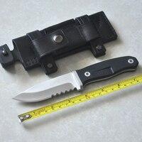 Lâmina fixa faca de acampamento sobrevivência faca tática lâmina ATS34 facas de caça ferramenta ao ar livre portátil de Couro bainha
