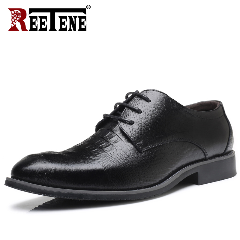 REETENE 2018 NEW Leather Crocodile Men Shoes High Quality Leather Men Dress Shoes Genuine Leather Oxford