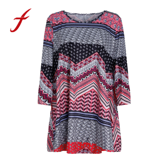 camiseta mujer verano Fashion Womens Casual Floral Print Shirts 3/4 Sleeves O-Neck Tunic TopsLarge size ethnic style African