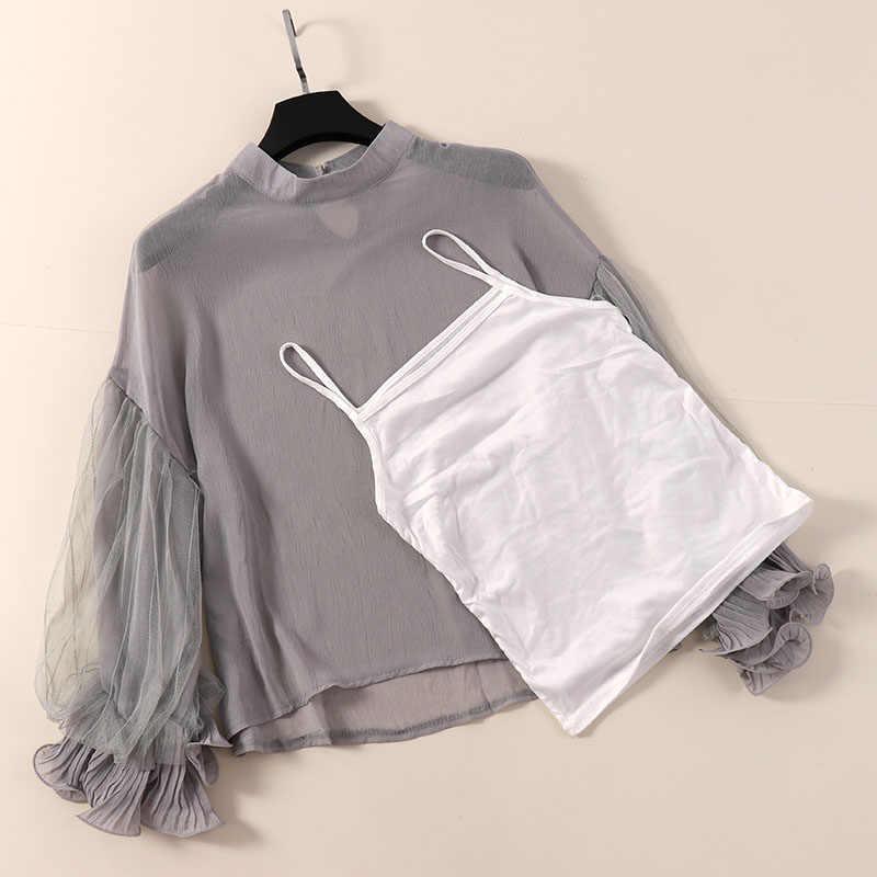 2019 春の新 2 ピース女性ブラウスランタン長袖フリルレースの女性のエレガントな固体セクシーなシャツ生き抜くトップス