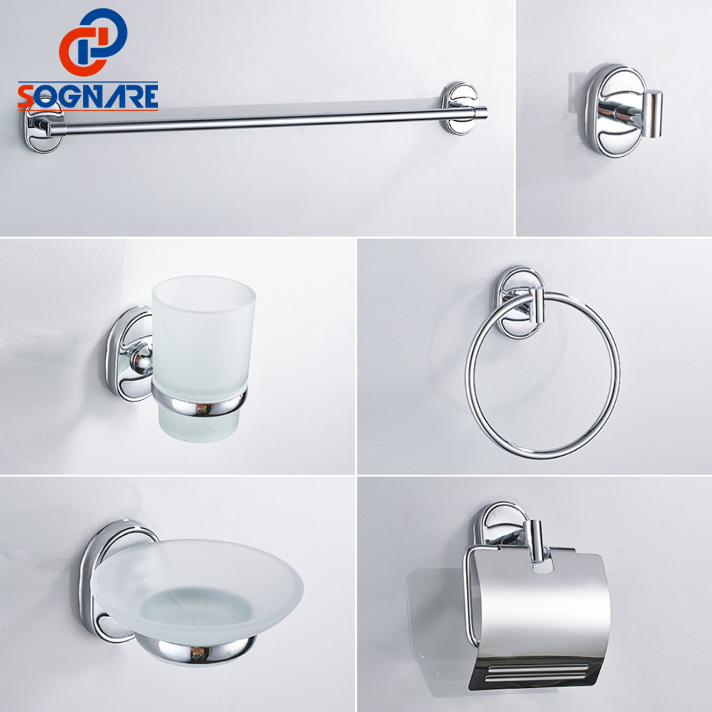 SOGNARE 6PCS/SET Bathroom Accessories Set Single Towel Bar, Robe Hook, Paper Holder, Cup ...