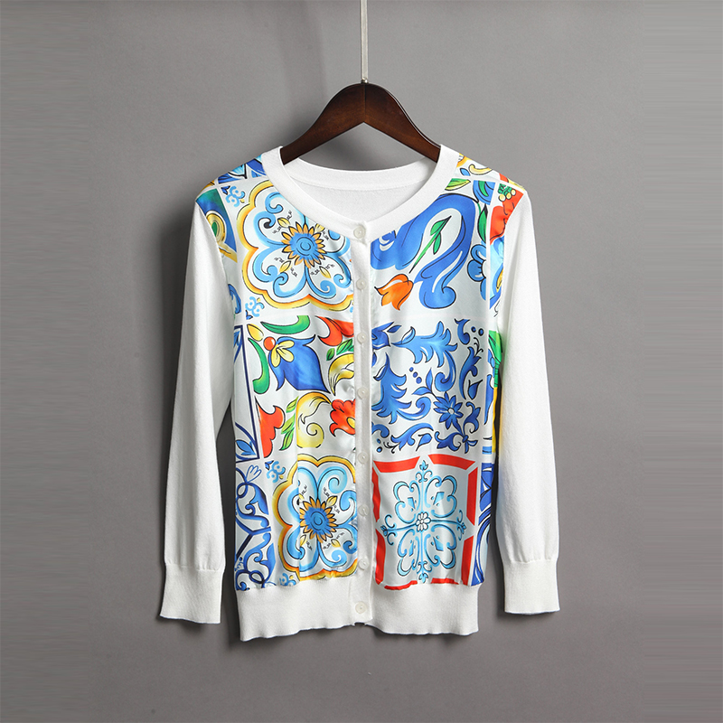 2018 nouveau mode imprimé rétro chandail de haute qualité printemps manches complètes o_cou mode bleu et blanc Cardigans en porcelaine