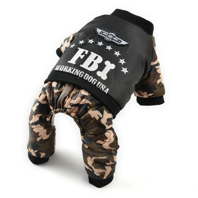 Winter Pet Clothes For Dogs Cool FBI Dog Clothes Warm Fleece Chihuahua French Bulldog