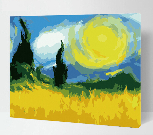 New Frameless DIY digital oil painting Abstract landscape canvas ...