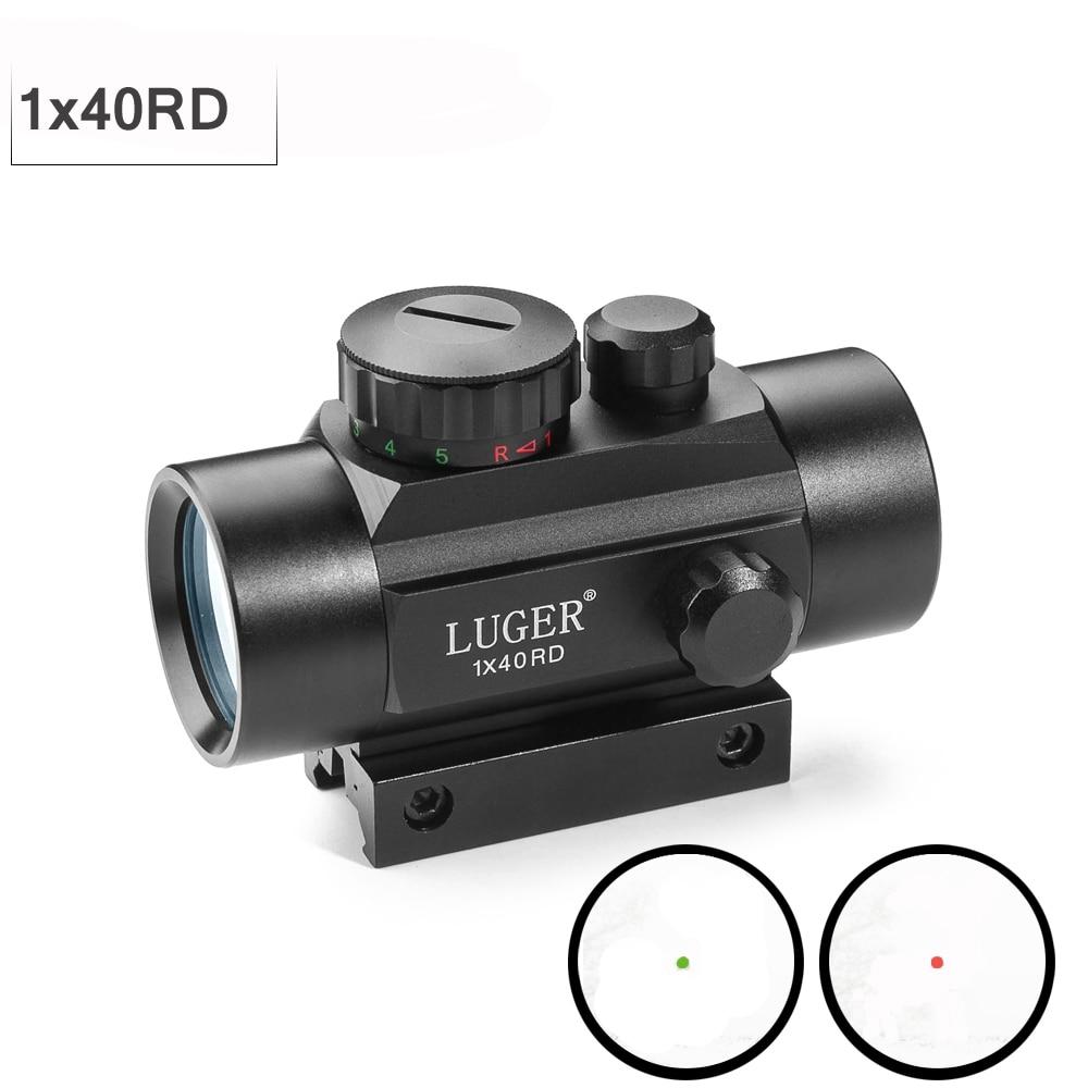 Tático 1X40 MM Red Green Dot Sight Scope Caça Riflescope Óptica Colimador Com 11/20 MILÍMETROS Cauda de Andorinha para Rifle Pistola de Ar Ao Ar Livre