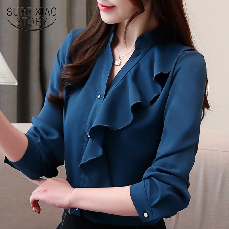 Fashion 2019 ruffles V collar office   blouse   womens tops and   blouses   solid chiffon   blouse     shirt   long sleeve women   shirts   2330 50