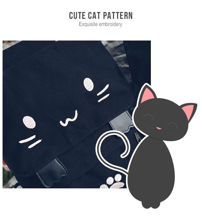HTB1Jrt8a2WG3KVjSZFgq6zTspXad Cute Cat Canvas Backpack Cartoon Embroidery Backpacks For Teenage Girls School Bag Fashio Black Printing Rucksack mochilas XA69H