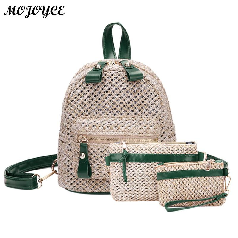 New Straw Woven Backpack Women Mini Shoulder Messenger Crossbody Bag Fashion Weave Hollow Beach Bags Backpacks For Teenager Girl Luggage & Bags