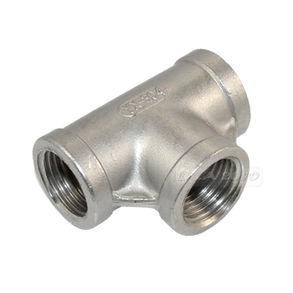 MEGAIRON 1/2 Tee 3 way F/F/F Threaded Pipe Fittings Stainless Steel SS304 Female x Female x Female 51mm Length