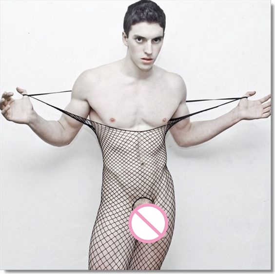2017 Men's Sexy Fishing Nets Tight Stockings Bodysuits Perspective Siamese Open Crotch Body-Stocking