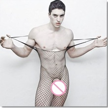 Bodysuits Stockings Tight Fishing-Nets Open-Crotch Sexy Men Siamese Perspective Men's