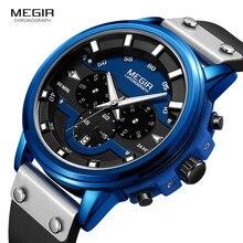 цена MEGIR 2019 New Mens Watches Top Brand Luxury Waterproof 24 hour Date Quartz Watch Man Fashion Leather Sport Wristwatch 2080 Blue онлайн в 2017 году