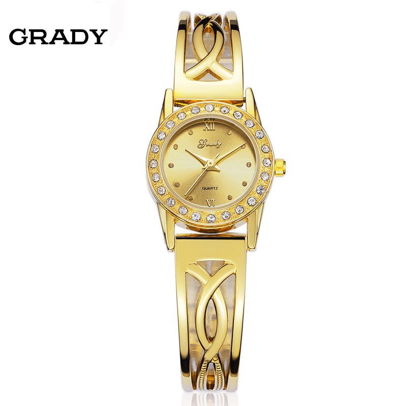 New Fashion Ladies Gold Watch Women Rhinestone Dress Watches Analog Quartz Watch Wristwatches Free Shipping Reloj Mujer kingsky women new casual watches brand famous quartz fashion reloj mujer 021052 2017 new arrivial free shipping