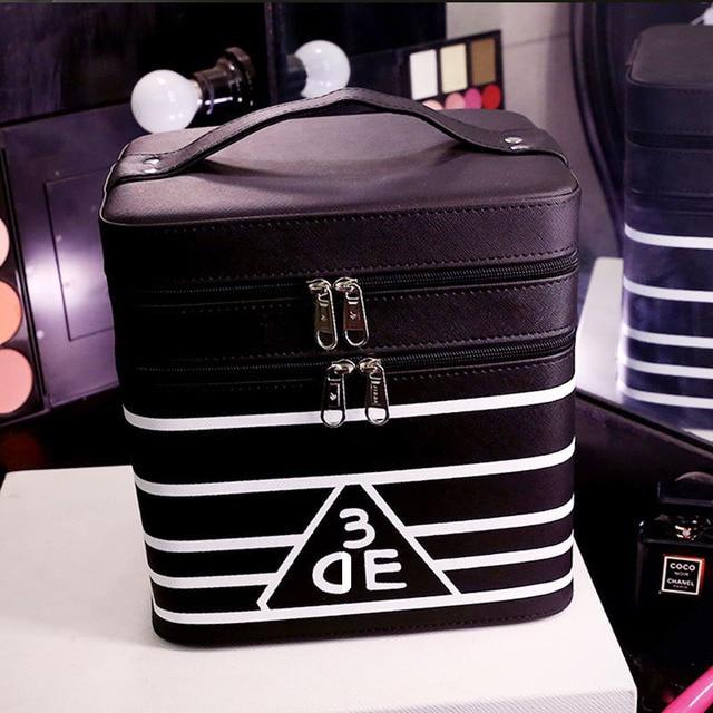 2016 Hot Sell Black and White Stripes Makeup Box Cosmetic Cases Box Lady Cosmetic Bags Travel Bag Toiletries Ladies Bolsas