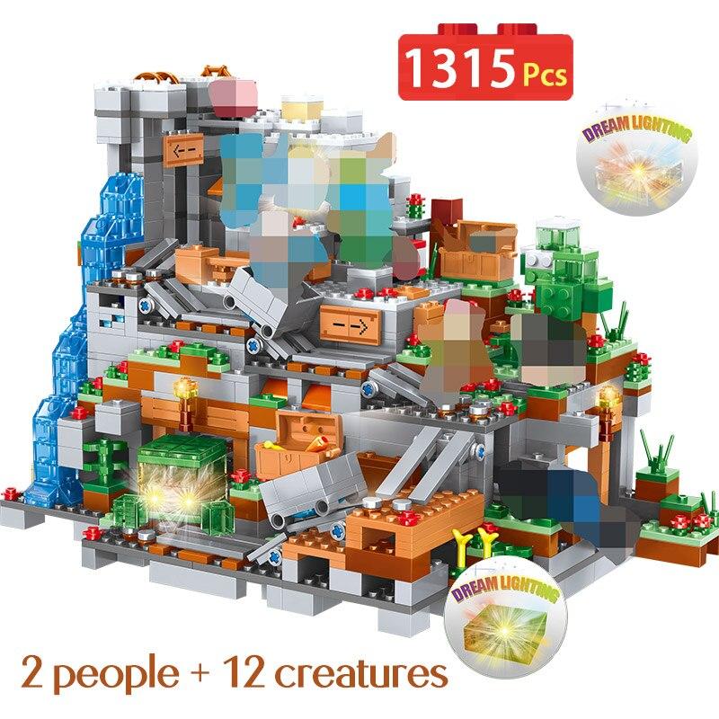 1315 pièces nouveaux blocs compatibles LegoINGLYS organes Minecrafted de la grotte blocs de construction château Village série jouets pour enfants