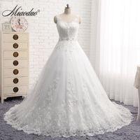 Miaoduo Vestido De Noiva New Design A-Line Lace Wedding Dresses 2018 V-Neck Beaded Sash Backless Sexy Vintage Wedding Gowns