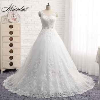 Vintage Vestido De Noiva New Design A-Line Lace Wedding Dresses 2019 V-Neck Beaded Sash Backless Wedding Gowns trouwjurk custom - DISCOUNT ITEM  50% OFF All Category