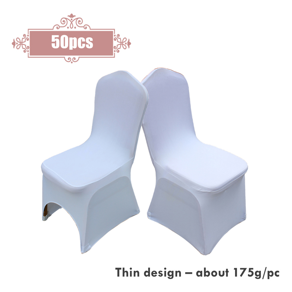 Hot 50pcs lot Universal White Stretch Polyester Chair Cover For Wedding Party Banquet Decoration Hotel Dinning