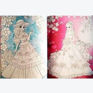 Image 5 - A4 Größe Kawaii Prinzessinnen Färbung Bücher für Kinder Set von 4 Malerei Bücher für Junge Mädchen Kinder/Erwachsene Aktivität bücher