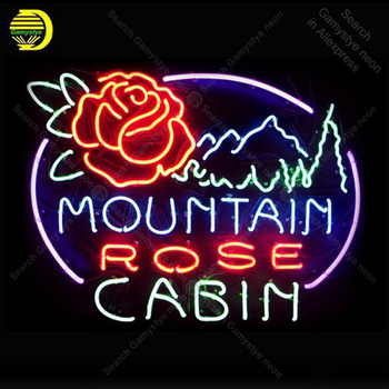 Rose Cabin with Mountain NEON SIGN REAL GLASS Tubes BEER BAR PUB Sign LIGHT SIGN STORE DISPLAY ADVERTISING LIGHTS lamp for sale