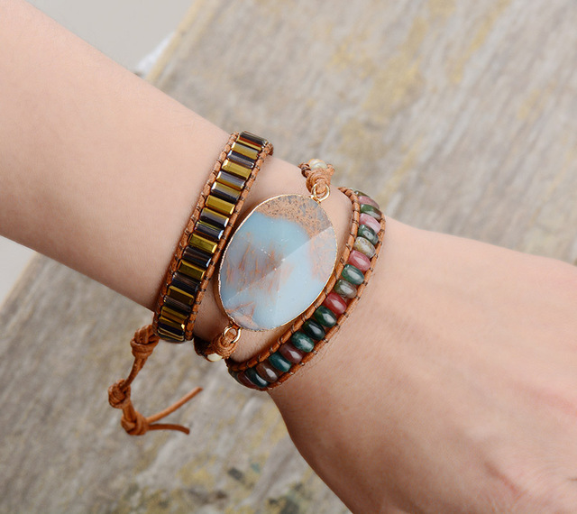 Exclusive Designer Bracelets Japser Crystal Onyx 3 Strands Wrap Bracelet Bohemia Adjustable Leather Bracelet Holiday Jewelry