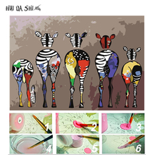 Digital Diy oil painting by number figure wall decor picture on canvas paint coloring abstract animal horse