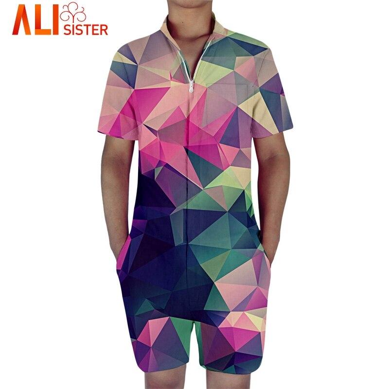 Alisister Harajuku Geometric Shape Rompers For Men Mens 3d Jumpsuit Harem Cargo Overalls Summer Hip-Hop Casual Bibs Pants